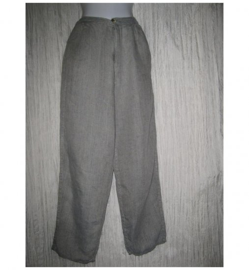 FLAX by Jeanne Engelhart Long & Lean Gray Linen Trousers Pants Small