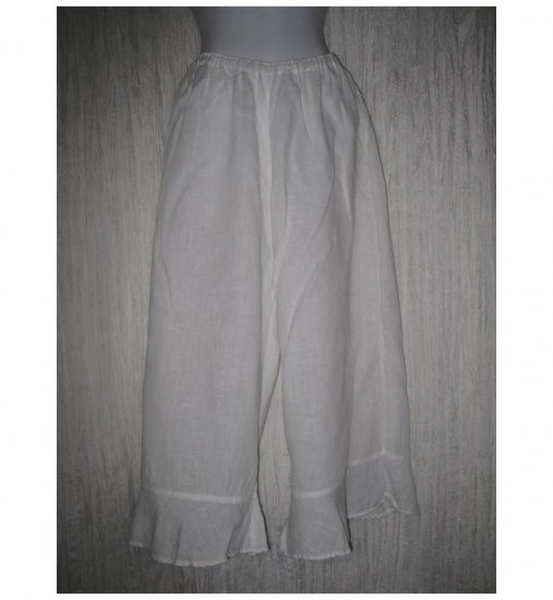 White Linen Bedskirt Bloomers Flood Pants Medium M