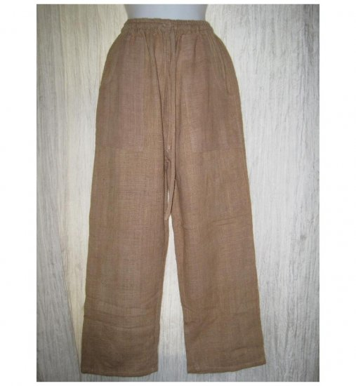 Rugged Earthy Toffee Hemp Drawstring Pants Small S