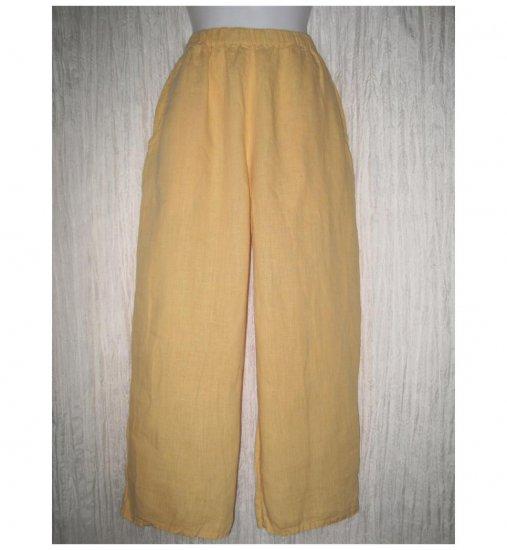 Jeanne Engelhart FLAX Yellow Linen Flood Pants Small S