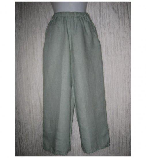 Jeanne Engelhart FLAX Blue Green Linen Flood Pants Petite P