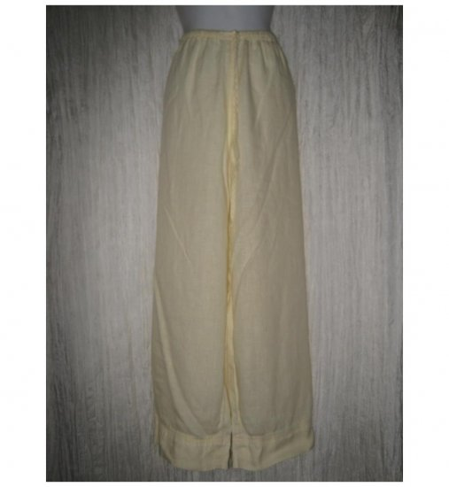 Jeanne Engelhart FLAX Yellow Linen Flood Pants Large L