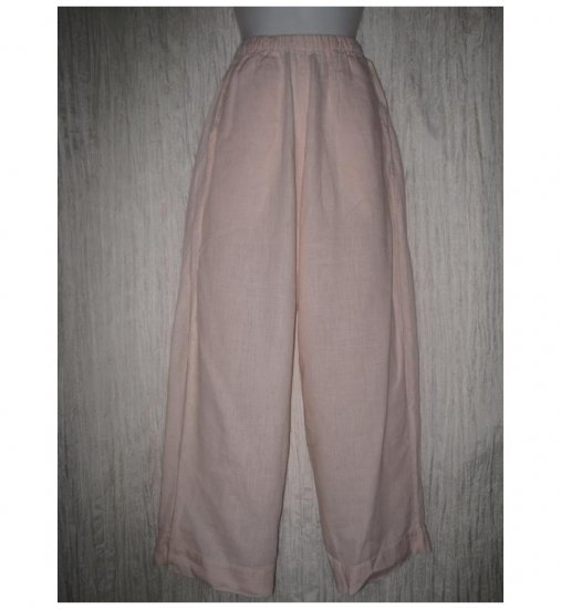 Jeanne Engelhart FLAX Soft Pink Linen Flood Pants Small S