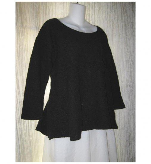 FLAX by ANGELHEART Black Merino Wool Shapely Skirted Tunic Sweater Jeanne Engelhart Small Medium S M