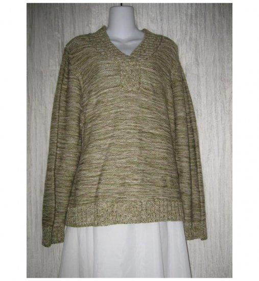 Hawkshead Cozy Mottled Green Cotton Sweater 20 M L