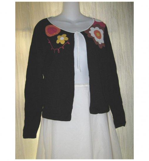 Shu Shu Black Floral Tied Cardigan Sweater Medium M