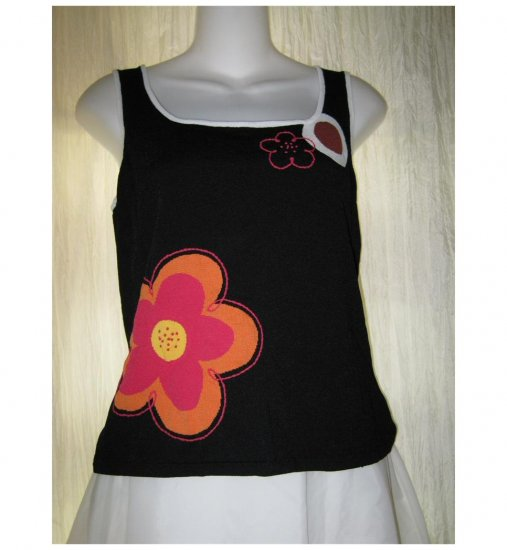 Shu Shu Black Floral Knit Tank Top Sweater Medium M