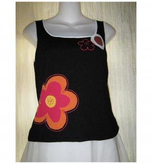 Shu Shu Black Floral Knit Tank Top Sweater Medium M