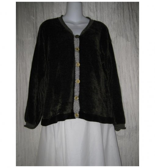 Ani Barrie Cozy Green Chenille Cardigan Sweater Small S