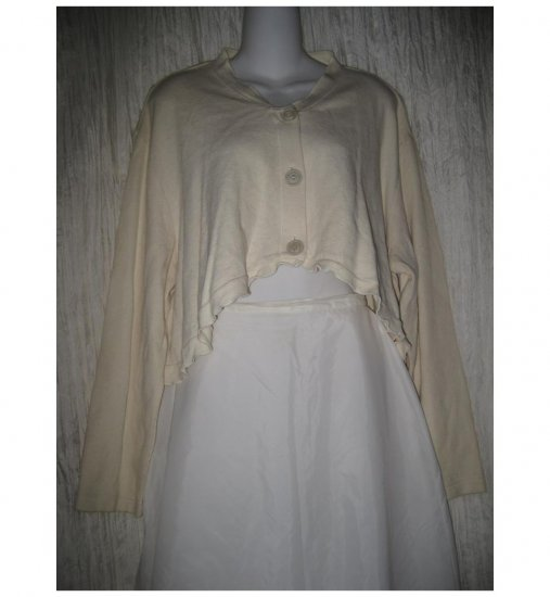 Clothespin Cropped Cream Lagenlook Cardigan Sweater Large L