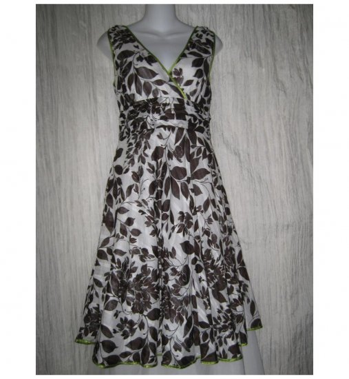 Robbie Bee Shapely Brown Cotton Leaf Dress 8P 8 Petite