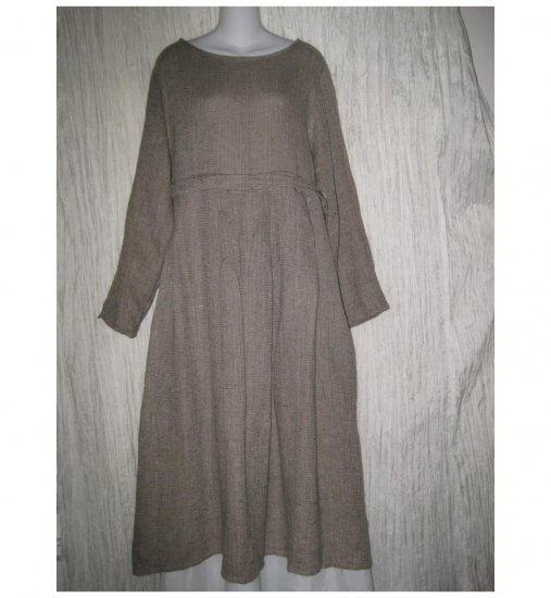 FLAX by Jeanne Engelhart Thermal Linen Story Dress Small S