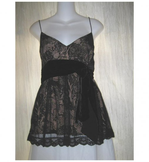Plenty by Tracy Reese Black Silk Velvet Lace Babydoll Top Shirt Size 12