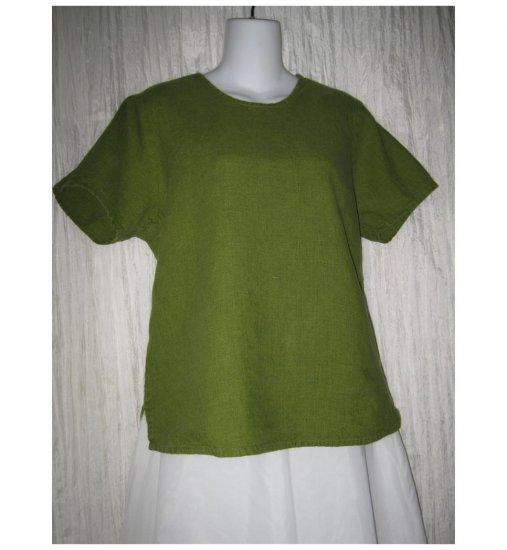 FLAX Jeanne Engelhart Green Linen Pullover Shirt Tunic Top Small S