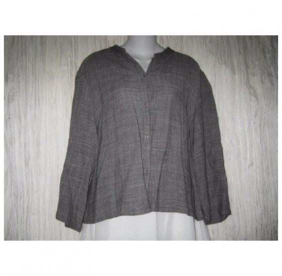 EILEEN FISHER Rugged Weave Linen Rayon Button Shirt Tunic Top Large L