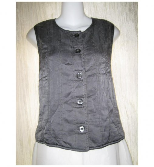 KIKO Soft Gray Quilted Silk Button Vest Shirt Top One Size OS