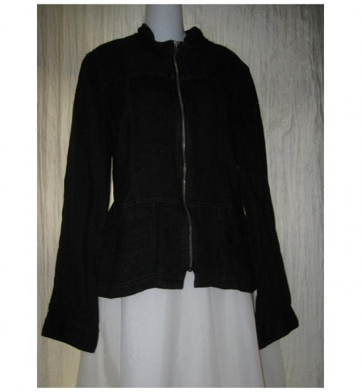 SOLITAIRE Shapely Black Linen Button Jacket X-Large XL