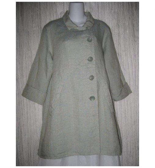 Jeanne Engelhart FLAX Green Crossweave Linen Shapely Smock Jacket Small S