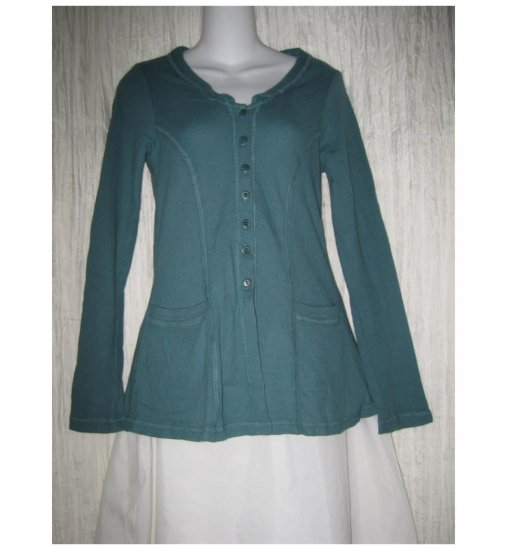 Jeanne Engelhart FLAX Shapely Teal Cotton Knit Tunic Top Shirt Jacket Petite P