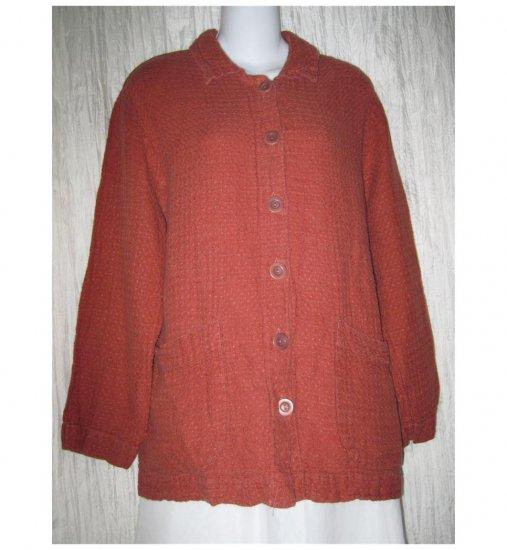 Jeanne Engelhart FLAX Russet Linen Tunic Top Shirt Jacket Medium M