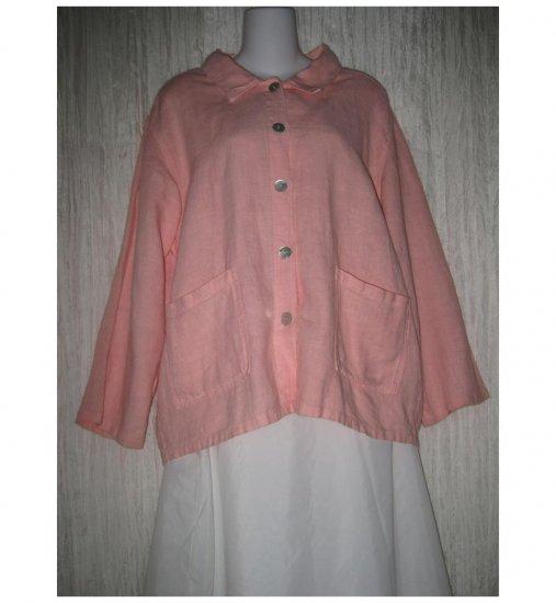 Focus Pink Linen Button Hem Tunic Top Shirt Jacket Small S