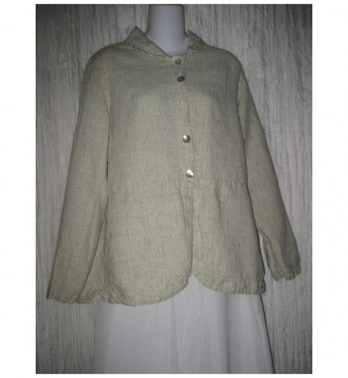 Willow Boutique Shapely Striped Linen Tunic Top Shirt Jacket Medium M