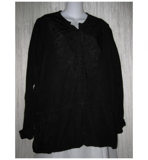 FLAX by Jeanne Engelhart Skirted Black Patch Jacket Tunic Top Medium M