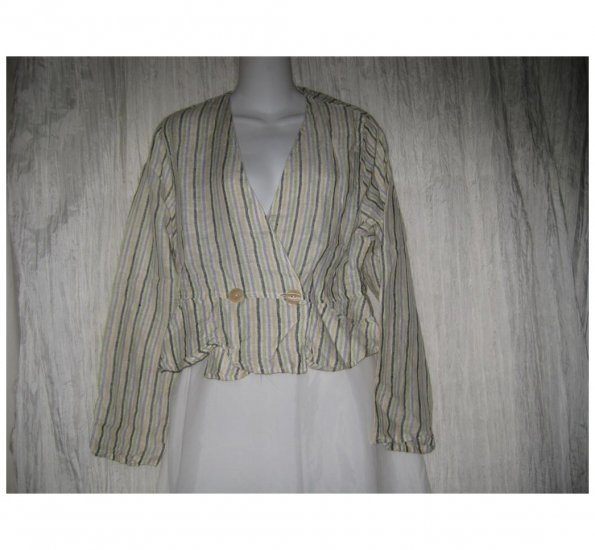 FLAX by Jeanne Engelhart Shapely Striped Linen Peplum Jacket Petite P