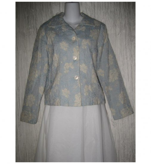 Coldwater Creek Shapely Blue Floral Tapestry Jacket Coat Small S