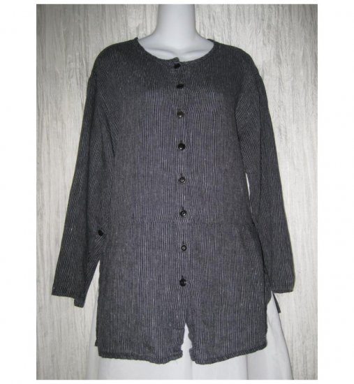 Jeanne Engelhart FLAX Black Striped Linen Skirted Button Shirt Tunic Top Petite P