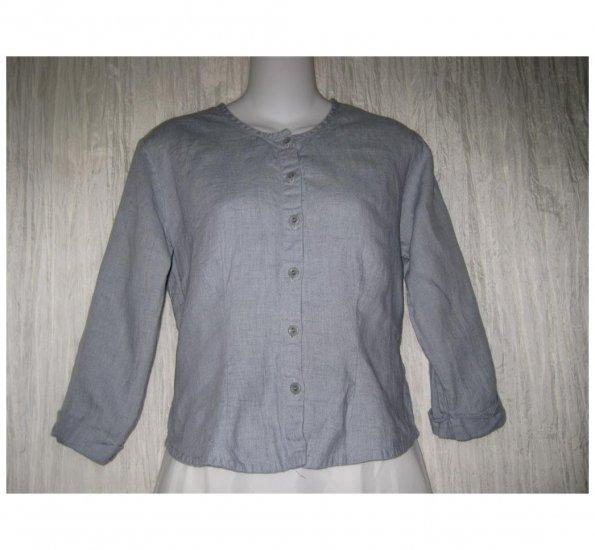Jeanne Engelhart FLAX Shapely Gray Linen Button Shirt Top Petite P