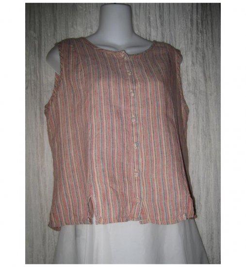 Jeanne Engelhart FLAX Red Striped Linen Button Shirt Tunic Top Petite P