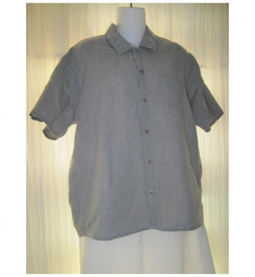 Jeanne Engelhart FLAX Natural Linen Button Shirt Tunic Top Petite P
