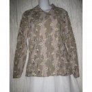 Jeanne Engelhart FLAX Shapely Floral Rayon Button Shirt Top Petite P