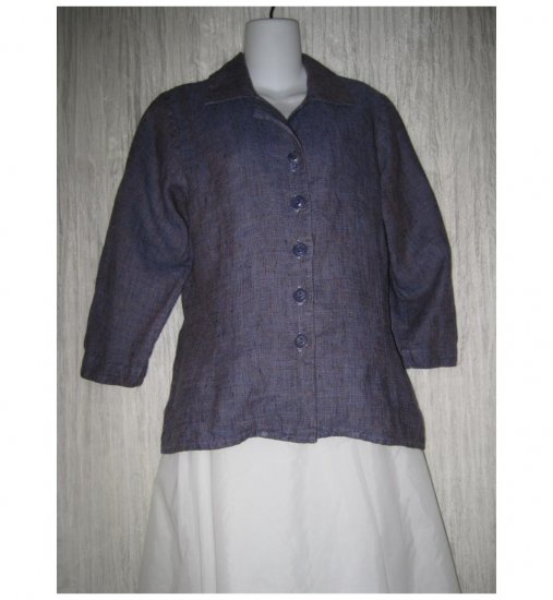 Jeanne Engelhart FLAX Purple Linen Button Shirt Tunic Top Petite P