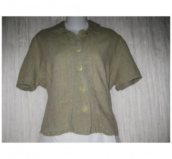 Jeanne Engelhart FLAX Natural Linen Button Shirt Tunic Top Small S