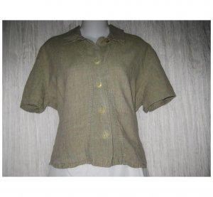 Jeanne Engelhart FLAX Green Linen Button Shirt Tunic Top Medium M