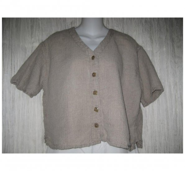 Jeanne Engelhart FLAX Natural Linen Button Shirt Tunic Top Small S