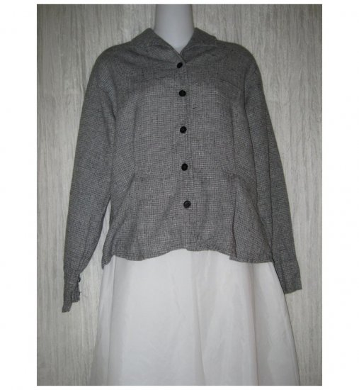 Jeanne Engelhart FLAX Black White Linen Button Shirt Tunic Top Small S