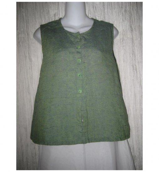 Jeanne Engelhart FLAX Green Linen Button Shirt Tunic Top Small S