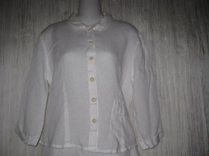 Jeanne Engelhart FLAX White Linen Button Shirt Tunic Top Small S