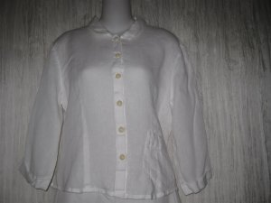 Jeanne Engelhart FLAX White Linen Button Shirt Tunic Top Small S