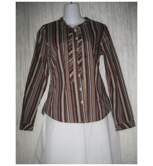 Solitaire Shapely Striped Cotton Button Shirt Tunic Top Small S