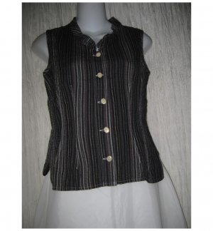 SOLITAIRE Shapely Black Linen Rayon Shirt Top Small S
