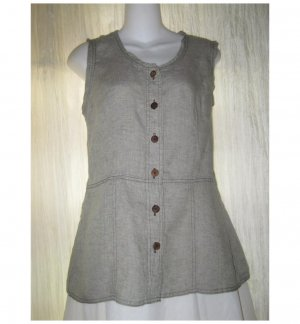 SOLITAIRE Shapely Green Linen Crossweave Shirt Top Medium M