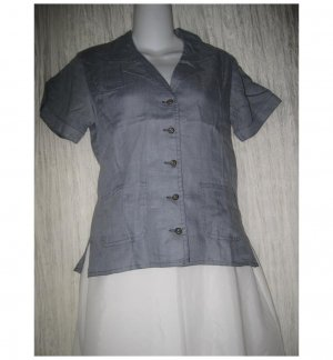SOLITAIRE Shapely Blue Linen Crossweave Shirt Top X-Small XS