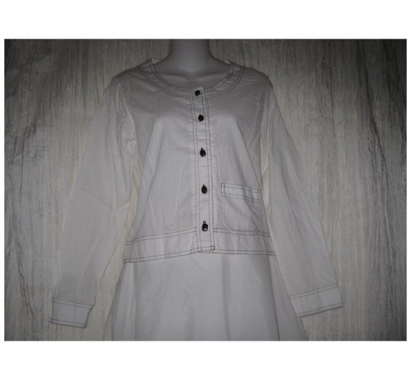 SOLITAIRE Shapely White Cotton Button Shirt Top Small S