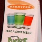 DeKuyper Pucker Take a Shot Menu Recipes Booklet New