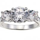 NEW 3 Stone Cubic Zirconia Anniversary Ring Silvertone Size 10 3K total weight  ~FREE SHIPPING~