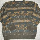 NORTHERN ISLES Brown Print Lightweight Sweater Mens XLARGE